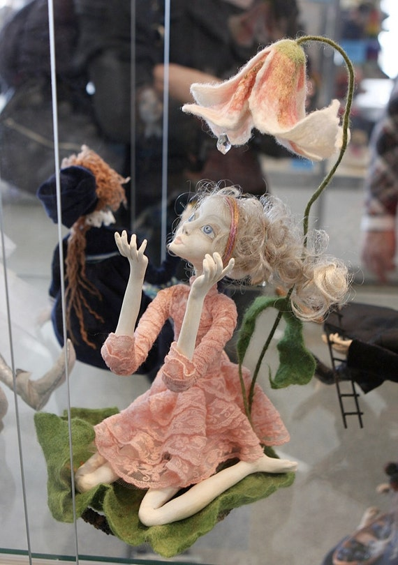 "OOAK art doll ""Thumbelina"" Paper clay Handmade doll"
