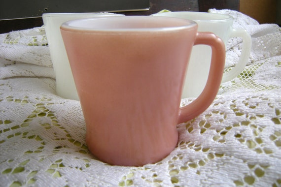 RESERVED FOR hannahleigh13455 3 Fire King Mugs Set, Excellent Condition Anchor Hocking  Dusty Rose Pink and White D Handle Model
