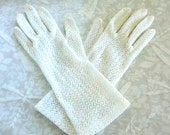 Womens Vintage White Stretch Lace Gloves
