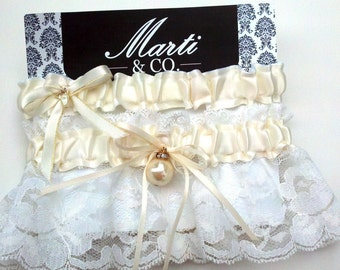 Wedding Bridal Keepsake Garter Set- Ivory Lace Pearl and Rhinestones - Wedding Garter - Toss Garter