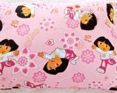 Pillowcase - Toddler Child Travel Size - Dora the Explorer - Dora & Boots - Pink Flowers - Pillow Case Cover