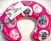 Travel Pillow - Head Neck Support - Child Kids - Pink Kitty Cat w/ White Minky Fleece Back - Girls - READY TO SHIP