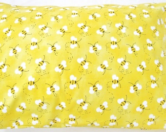 Pillowcase - Toddler Child Travel Size - Bees Bumblebee Yellow - Pillow Case Cover - Ready To Ship