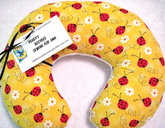Travel Pillow - Head Neck Support - Child Kids - Ladybug Lady Bug Lovebug - Yellow Flowers - White Minky - Girls