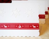 Christmas Cards, Red and White, Set of Five (5), Snowflake & Fairisle