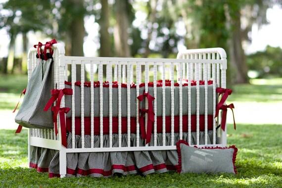 Crib Set - Crimson and Houndstooth