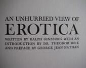 Vintage book An Unhurried View of Erotica....written by Ralph Ginzburg Valentines day gift