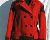 Vintage 1940s Hudson Bay Blanket Jacket 3 1/2 point in red and black mens S-M, women's L.