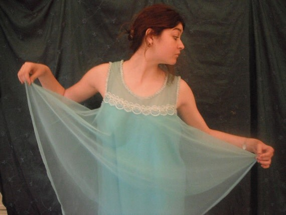 Vintage 1960s nightgown chiffon turquoise triple layer by 'Keynote'