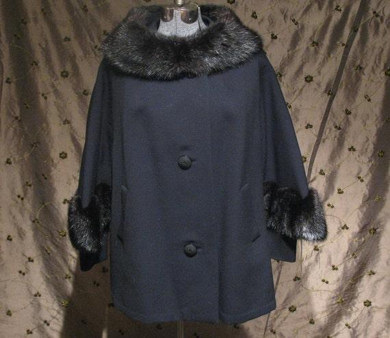 Vintage 1950s coat swing coat...now 20 percent off, was 120, now 96....winter sale....black wool and dark mink trimmed.