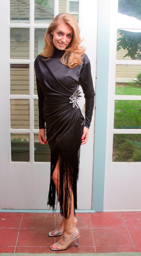1980's Vampy Black Sexy Fringe Form Fitting Dress