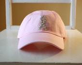 Hope - Breast Cancer Awareness - Swarovski Crystal Rhinestone Pink Baseball hat cap