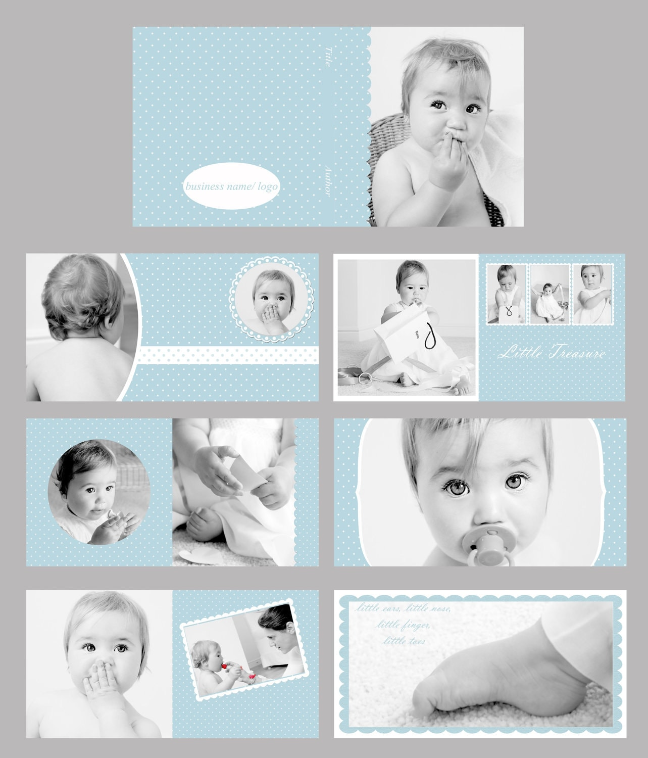 Photo Album Examples: Baby Blue Photo Album/ Photo Book Template Set By