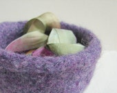 Purple knitted felted bowl small basket for little treasures