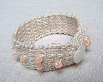 Crochet Bracelet - Ecru with Orange Pink Beads and Button