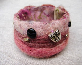 Pink Felt Cuff with Beads and Faces