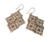 Lightweight Chandelier Earrings - Bronze Filigree Diamond Shape - Versatile Gift Idea