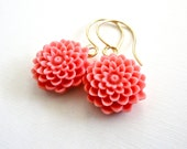 Coral Pink Flower Drop Earrings - Summer Chrysanthemums on Gold Ear Wires