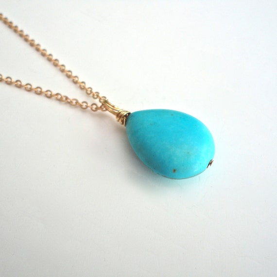 Turquoise Teardrop Necklace on Matte Gold Chain