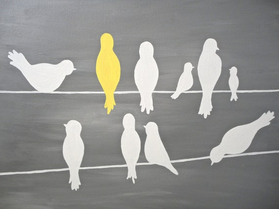 Cute Bird Silhouettes on a Power Line - Yellow, Grey, White - Original 16x20 Painting on Canvas