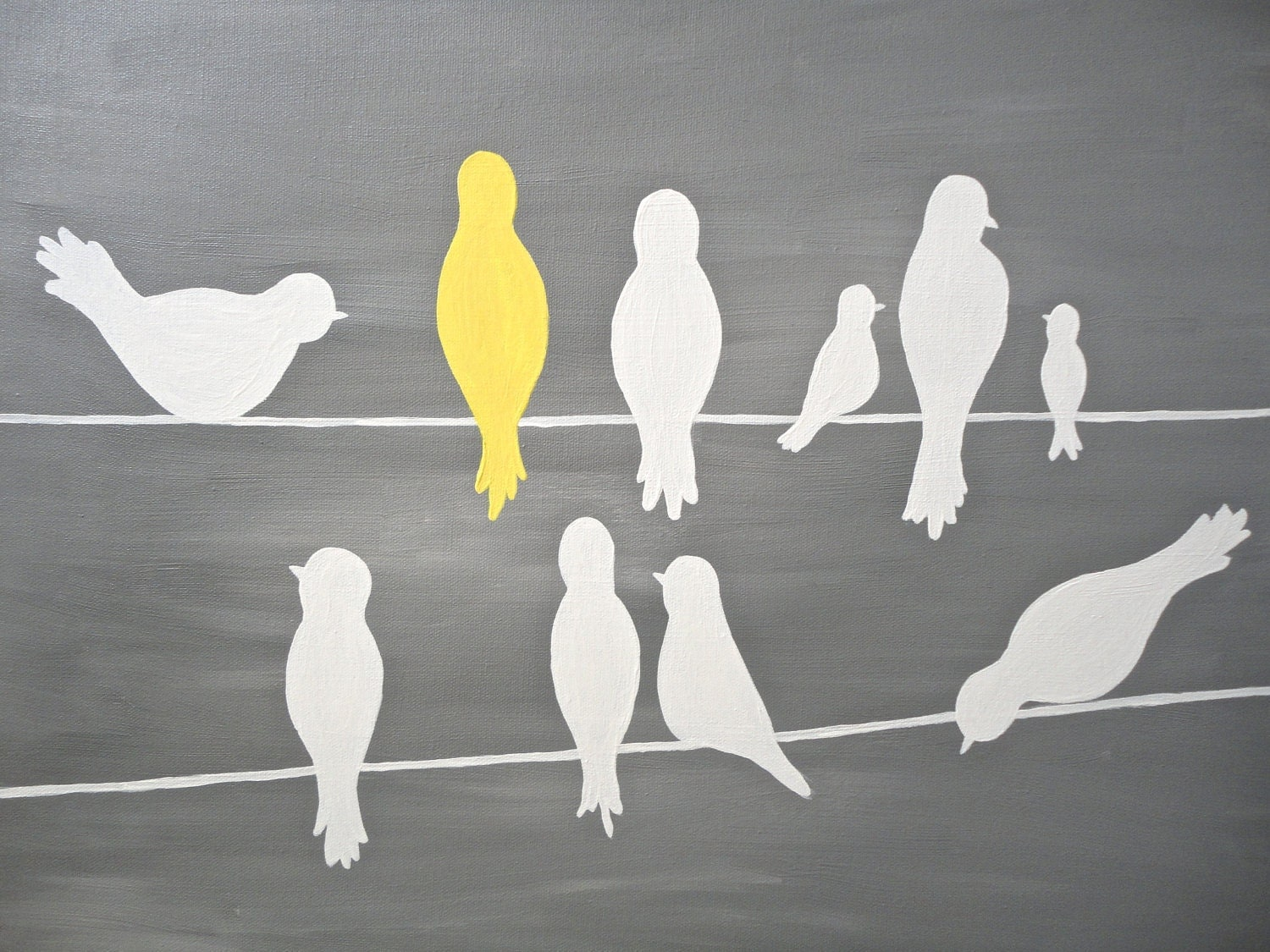 Cute Bird Silhouettes On A Power Line Yellow Grey White