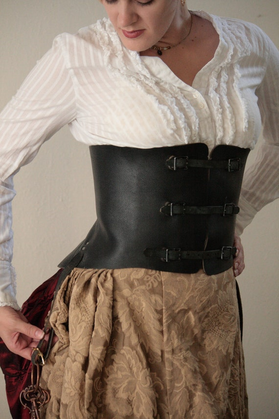 Steampunk Leather Buckled Corset - waist 24-29 inch