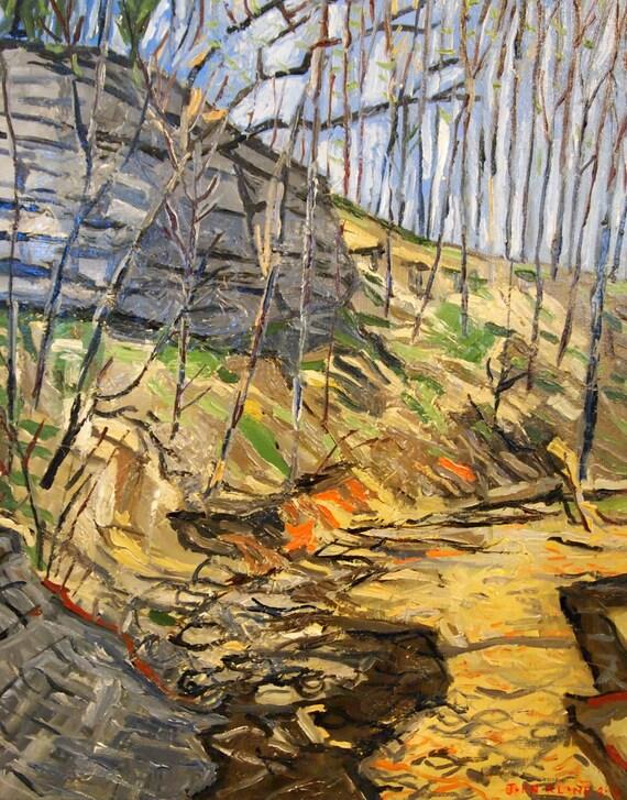 "Gans Creeks. Oil on Canvas. 16"" x 20"" Framed. landscape original painting Missouri"