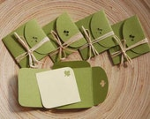 Mini green envelopes - set of 8