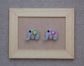 Little felt elephants with heart and flower  - set of 2 magnets