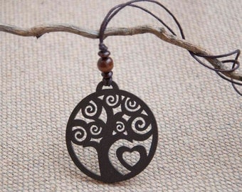 Wooden pendant necklace with tree and heart, tree of life