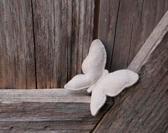 Butterfly  felt brooch in light gray
