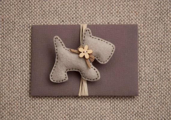 Little puppy felt brooch - with a wooden flower button