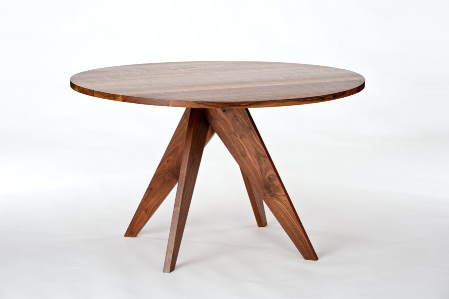48 round walnut dining table by stylodesign on etsy