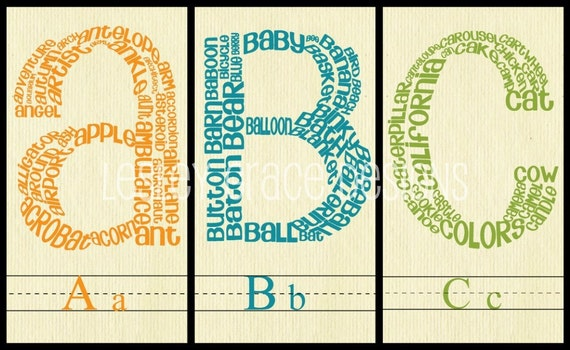 ABC Prints, Typography Art, 8x10 digital prints