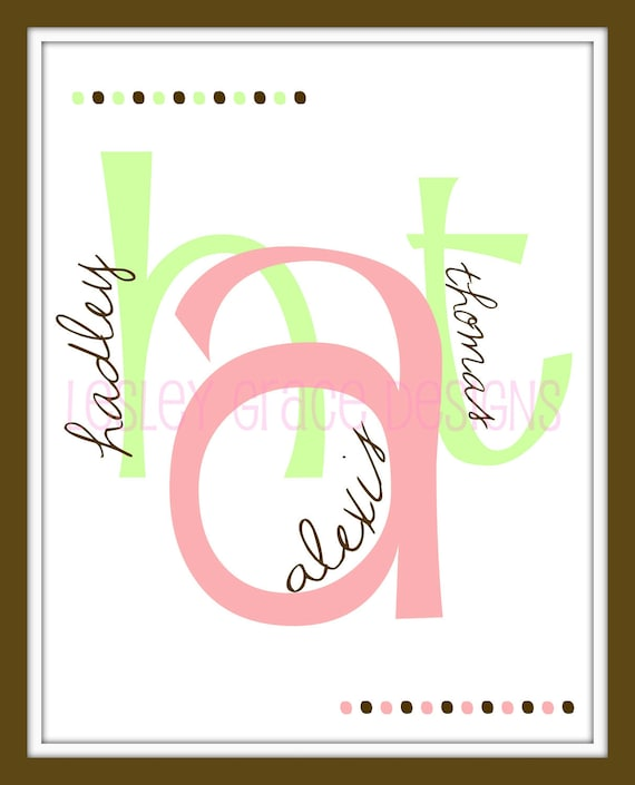 Children's Custom Monogram, Typography Art,11x14, digital print