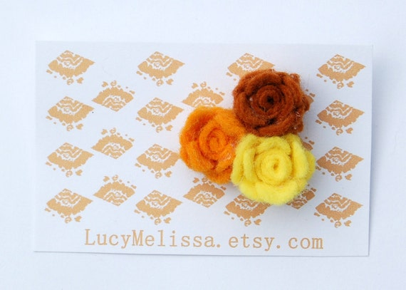 rosebud mini brooch, rose trio, wool felt, banoffee, ochre, lemon, toffee