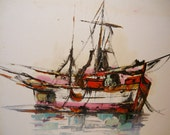 Abstract Ship Paintings - large vintage art pair - fishing vessels