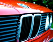 SALE- BMW 318is Signature Kidney Grill & BMW Classic Headlights Fine Art Photograph- red classic car vintage print