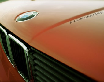 SALE- BMW 318is Classic Car in Antique Red with Signature Blue and White Roundel and Kidney Grill Detail Fine Art Photograph