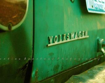VW Volkswagen Bus 16x20 Photo Print - vintage, bumper, taillights, rusty Fine Art Print