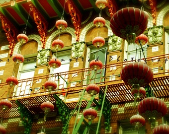 Hanging Lanterns Against Brick Building Facade in Chinatown- Fine Art Photograph- San Francisco, red lanterns, dreamy, ladders, city