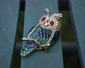 Vintage Red Eyed Owl Brooch..Rhinestones and Enamel