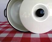 vintage stock pot - enamel - white with lid - 6 quart