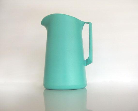 pitcher - aqua -  turquoise plastic by shamrock neatway -60s