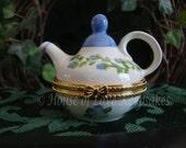 TEAPOT Ceramic Treasure/Trinket Box in Periwinkle