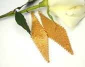Yellow Gold Galvanized Earrings/Sun Shine/Gold Earrings/Beaded Earrings/Chandelier Earrings
