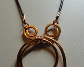 Copper Necklace, with brown greek leather