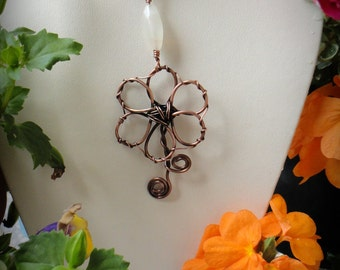 Greek Leather Necklace, Copper Pendant, White Moonstone, Black Leather, Patinaed Copper Flower