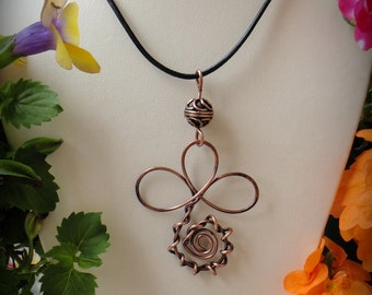 Greek Leather Necklace, Copper Pendant, Wire wrapped Leather Necklace