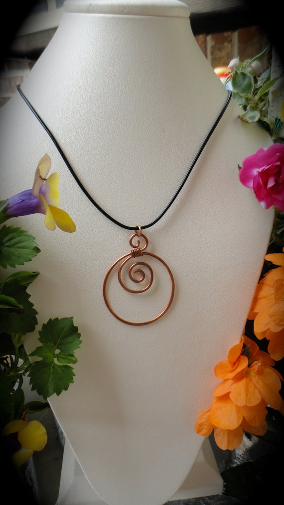 Leather Necklace Copper Pendant Necklace With black Greek Leather, casual